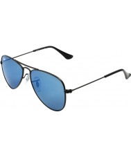 RayBan Junior Rj9506s 50 aviator noir mat 201-55 lunettes de soleil miroir bleu
