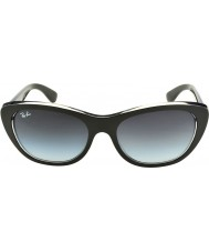 RayBan Rb4227 55 highstreet haut noir mat sur des lunettes de soleil de gradient de 60528g transparent