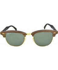 RayBan Rb3016m 51 clubmaster caoutchouc bois de noyer noir 118158 lunettes de soleil polarisées
