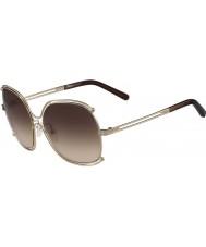 Chloe ce129s Ladies or rose et transperent lunettes de soleil brunes