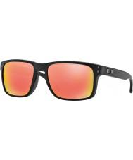 Oakley Oo9102-51 holbrook noir mat - ruby iridium lunettes de soleil polarisées