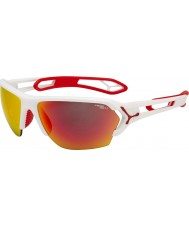 Cebe S-piste grand mat lunettes de soleil blanc rouge