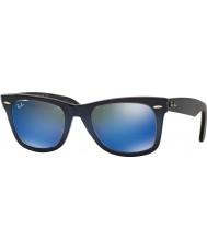 RayBan RB2140 50 wayfarer originale haut gradient bleu sur bleu 120368 lunettes de soleil miroir bleu clair