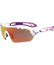 Cebe S-piste mono moyenne brillant blanc rose 1500 lunettes de soleil miroir gris rose avec lentille de remplacement clair