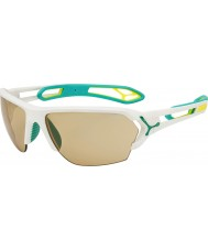 Cebe S-piste grand mat blanc turquoise variochrom perfo lunettes de soleil avec 500 lentille de remplacement clair
