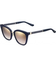 Jimmy Choo Mesdames Fabry-s KCA nh pailleté bleu lunettes de soleil miroir d'or