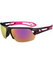 Cebe S-piste moyen brillant magenta noir 1500 lunettes de soleil miroir gris rose avec lentille de remplacement clair