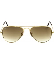 RayBan RB3025 58 aviator or métallique de grande taille 001-51 lunettes de soleil