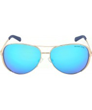 Michael Kors Mk5004 59 chelsea or rose 100325 bleu miroir lunettes de soleil